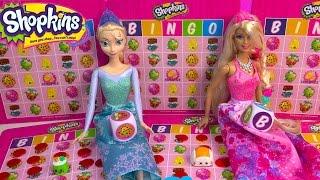 Queen Elsa Disney Frozen Plays Shopkins BINGO Barbie Princess Doll Season 3 Blind Bag Unboxing Video