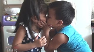 Cute, funny kids love and kiss, love you more
