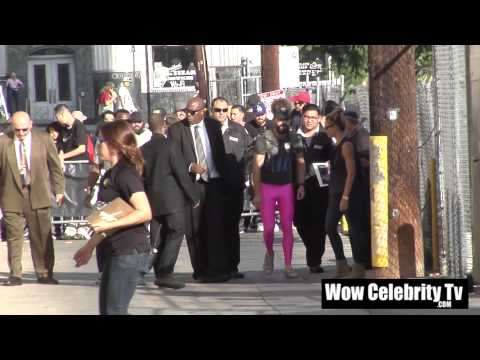 Shia Labeouf shows his backside to photographers at Jimmy Kimmel Live