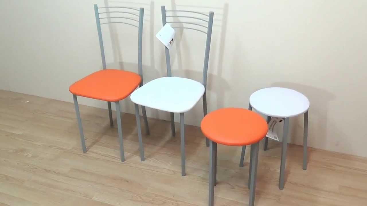 Sillas y taburetes metalicos con asiento acolchado for Sillas blancas para comedor
