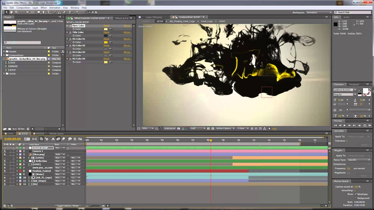 After Effects Tutorial Ink Drops Logo Reveal Customization Youtube