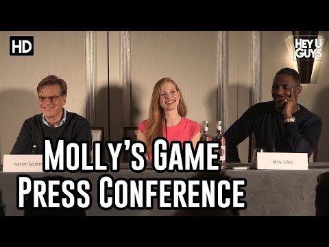Molly's Game Press Conference - Jessica Chastain, Idris Elba & Aaron Sorkin