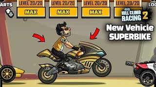 Hill Climb Racing 2 - New Vehicle SUPERBIKE Fully Upgraded