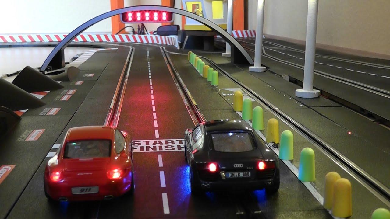 Audi R8 vs Porsche 911 - One Battle - 25 Runden - Carrera Bahn Digital Slot 1:32 - YouTube