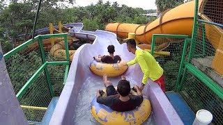 Indonesian Guys on the Rafting Slide at Water Kingdom Mekarsari