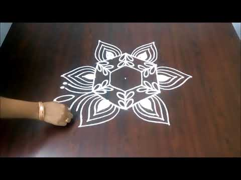 New Rangoli Design With 5 x 3  || Easy Muggulu ||  Latest Kolam Design || Fashion World