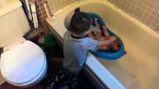 Washing little sister