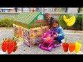 Öykü ve Masal market Çadırında Alışveriş Yaptılar- Kids Pretend Play shopping at the Supermarkets