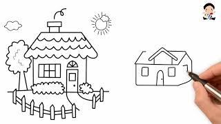 Cách Vẽ Ngôi Nhà - Dạy Bé Vẽ Ngôi Nhà Đẹp Nhất