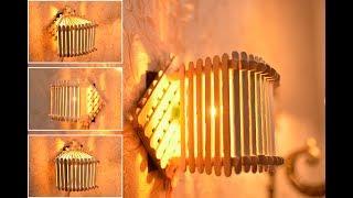 Cara membuat lampu tidur dinding cantik dari stik es krim