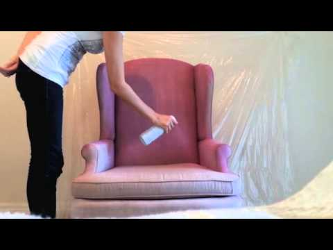 diy how to spray paint fabric on furniture youtube. Black Bedroom Furniture Sets. Home Design Ideas