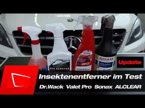 Insektenentferner Test - Dr.Wack CW1:100, Valet Pro Bug R., SONAX, ALCLEAR Update