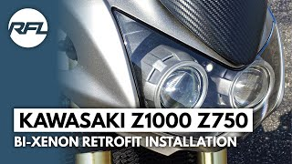 Kawasaki Z1000 Z750 Bi xenon projector headlight installation video