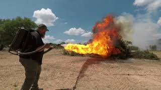 "Real flamethrower vs. ""Not a Flamethrower"" by Elon Musk."