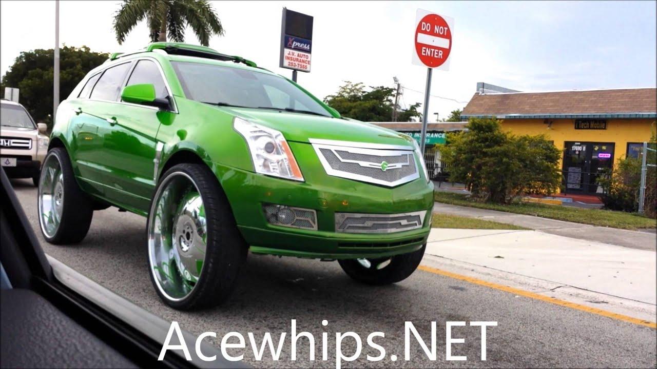 Acewhips net candy slime green cadillac srx on 32 quot forgiatos slidin youtube