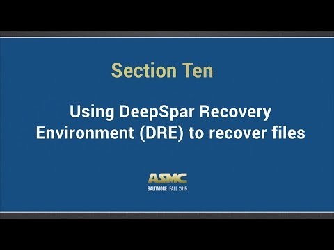 DDI training Section 10 - Using DeepSpar Recovery  Environment (DRE) to recover files