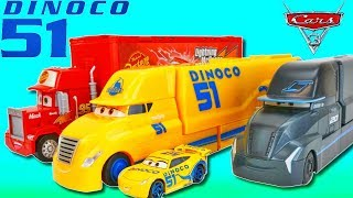 Disney Cars Dinoco Cruz Ramirez Gets a New Piston Cup Race Hauler With Racing Simulator!