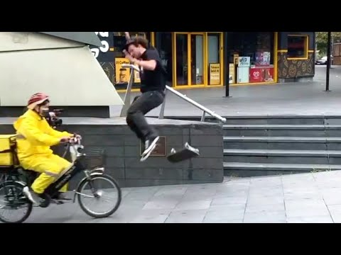 INSTABLAST! - Skater Kickflip INTO BIKE BASKET!! Hardflip Late Varial Flip, WILL IT TRE FLIP Stick