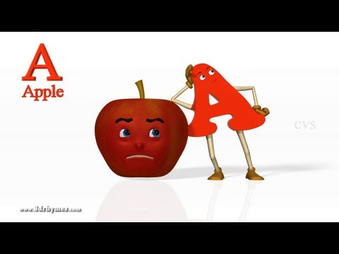 A for Apple Nursery rhymes 2 - 3D Animation Alphabet ABC Songs for children (ABC Song)