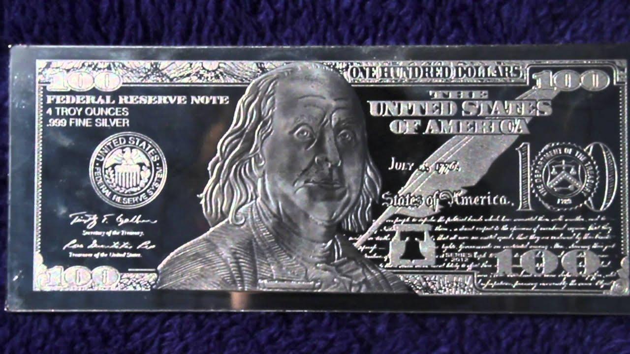 Silver 4oz Benjamin Franklin 100 Bill Hd Youtube
