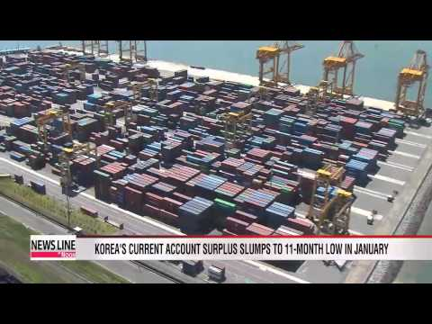 Korea's current account surplus slumps to 11-month low in January