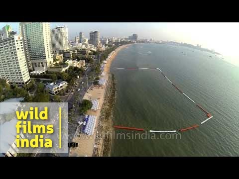 Top angle view of Pattaya beaches, Thailand