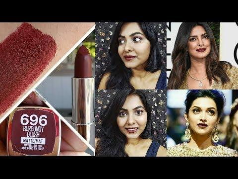 burgundy blush maybelline|best of dark lipstick india|Maybelline creamy matte lipstick swatches