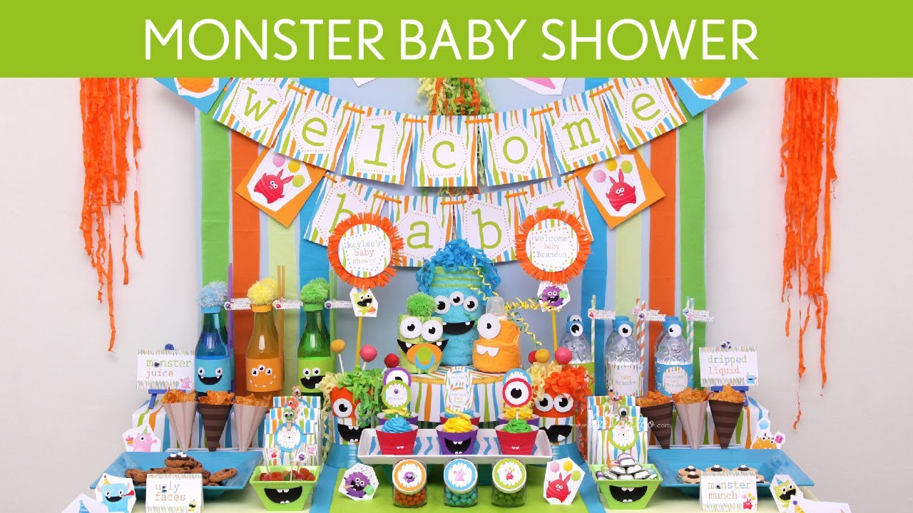 Monster baby shower party ideas monster s19 youtube for Baby tv birthday decoration