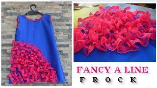 fancy a line frock cutting and stitching / easy designer frock for  2 to 3 years of age