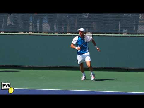 Nikolay ダビデンコ playing practice points in slow motion HD -- Indian Wells Pt. 26