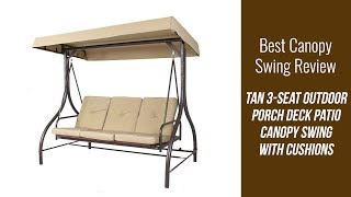 Canopy Swing Review - 3 Seat Outdoor Porch Deck Patio Canopy Swing with Cushions