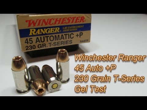 Winchester Ranger 45 Auto +P 230 Grain T-Series Gel Test
