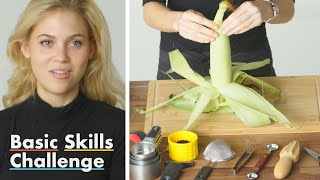 50 People Try to Shuck Corn | Basic Skills Challenge | Epicurious