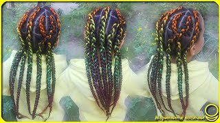 🌈 African braids with colored kanekalon 🌈 | Summer hairstyle for the sea 🏖️