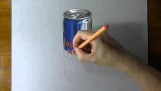 Red Bull can timelapse drawing зарисовка