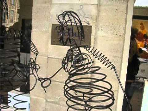 Saul Steinberg Style Wire Sculptures Dancing in the Wind