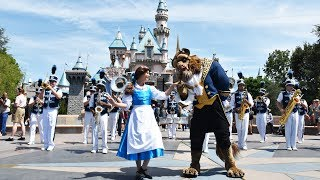 """Belle & The Beast Appear with The Disneyland Band, """"Be Our Guest"""" at Sleeping Beauty Castle"""