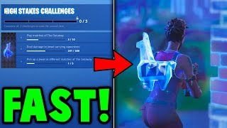 FASTEST Way To COMPLETE *HIGH STAKES* Challenges! UNLOCK FREE CROWBAR Guide! (Fortnite Guide)
