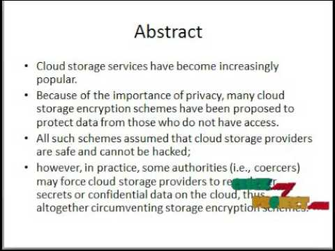 Audit-Free Cloud Storage via Deniable Attribute-based Encryption Final Year Projects 2015