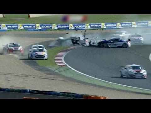 Chaumat and Sancinena Huge Crash @ 2014 Peugeot RCZ Racing Cup Magny C
