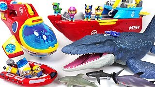 Jurassic World 2 huge sea dinosaur Mosasaurus appeared! Paw Patrol! Save the minions! - DuDuPopTOY