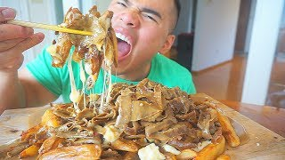 CHEESY Canadian Poutine | MUKBANG | QT | Halal Snack Pack