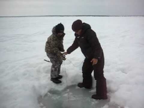 Ice fishing on Great Bear Lake