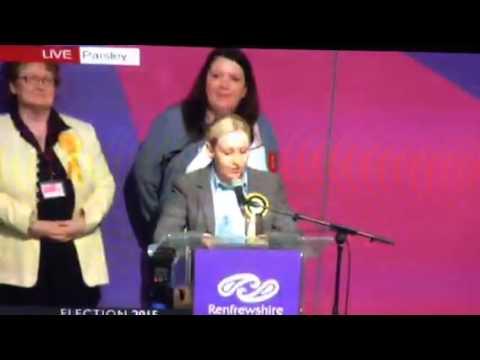 Mhair Black winning her seat in Paisley. Douglas Alexander losing his....