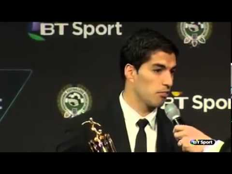 Luis Suarez Liverpool Striker WINS PFA Player of the Year award   FULL VIDEO