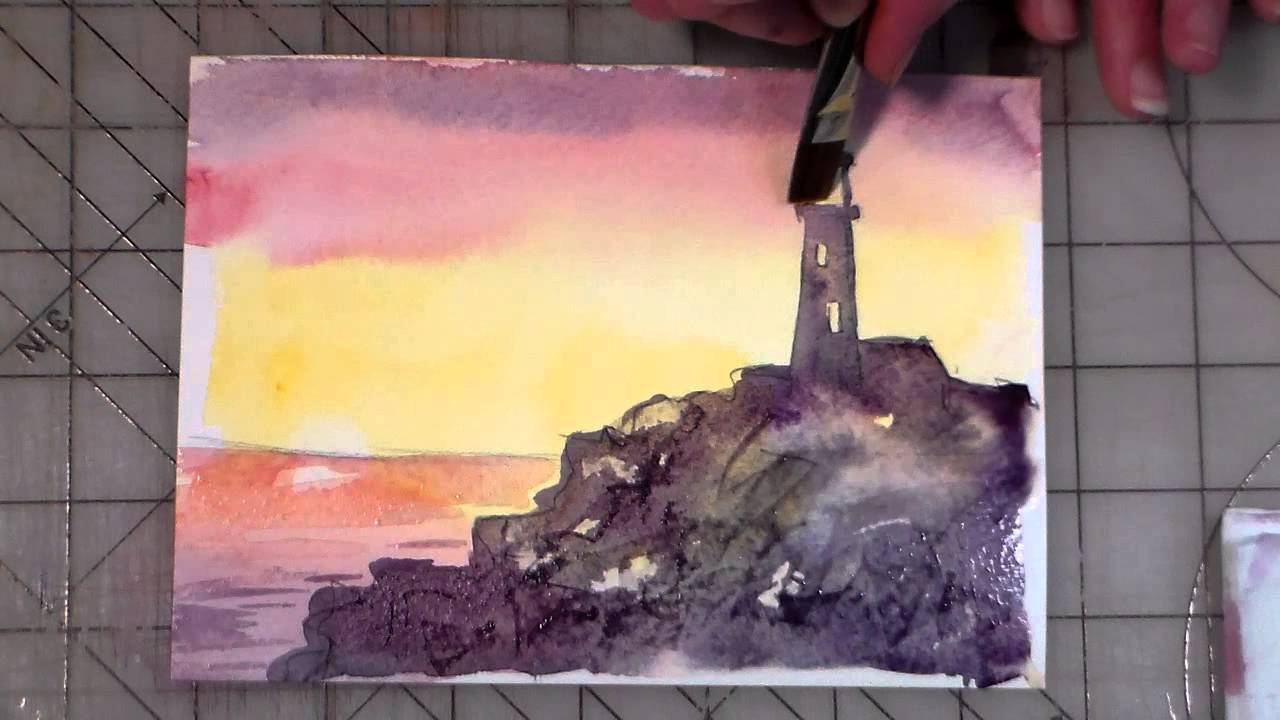 Beginner watercolor lighthouse tutorial youtube for Video tutorial on watercolor painting