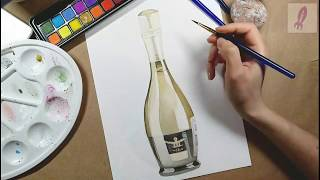 Champagne bottle picture drawing and painting. It is not porno - It is the world of art
