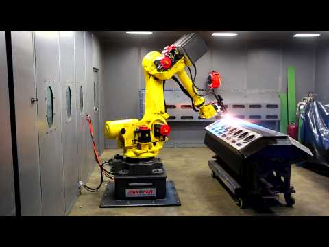 Lovick Engineering thermal arc spray robot in action