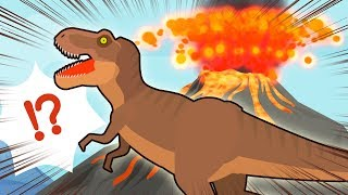 The baby elephant is in crisis. Attack of Tyrannosaurus and volcanic eruption.