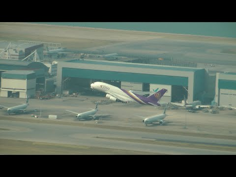 Beautiful Thai A380 Take off at Hong Kong Chek Lap Kok Airport with ATC